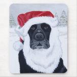 Black Labrador Christmas Santa Hat Painting Mouse Pads