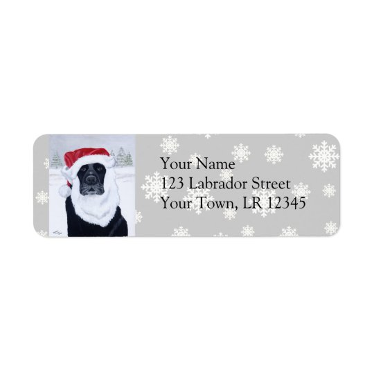 Black Labrador Christmas Santa Hat Painting Return Address Label