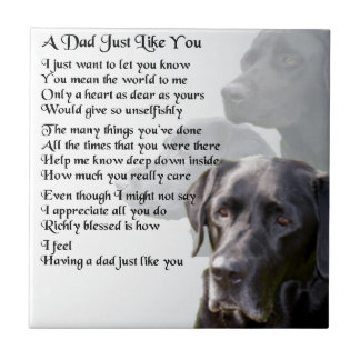 Black Labrador  Dad Poem Ceramic Tile