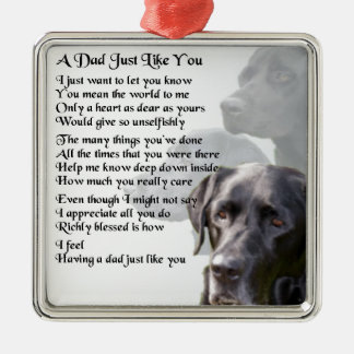 Black Labrador  Dad Poem Metal Ornament