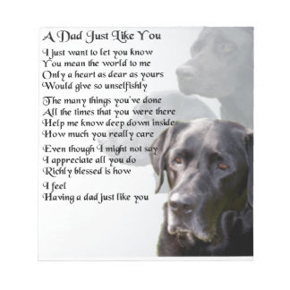 Black Labrador  Dad Poem Notepad