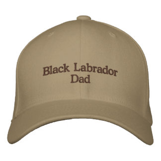 Black Labrador Dad Text Embroidered Hat