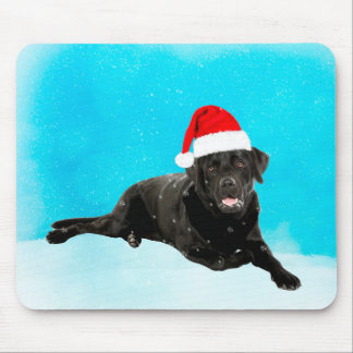 Black Labrador Dog Sitting in Snow Christmas Mouse Pad