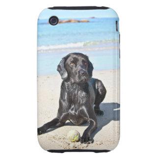Black Labrador Dog sitting on the Beach Tough iPhone 3 Case