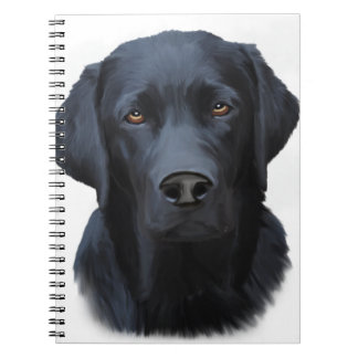 Black Labrador Dog Water Color Art Painting Notebook