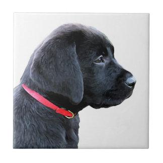 Black Labrador - Dressed in Red Ceramic Tile