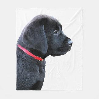 Black Labrador - Dressed in Red Fleece Blanket