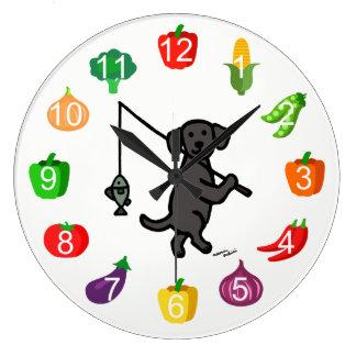 Black Labrador Fisherman Kitchen Clock