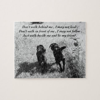 Black Labrador Friends Quote Jigsaw Puzzle