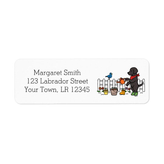 Black Labrador Gardener Address Labels