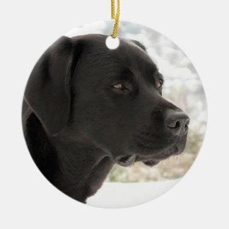 Black Labrador - Gazing Views Ceramic Ornament