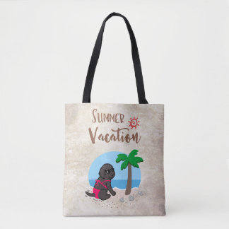 Black Labrador Girl Summer Vacation Bag