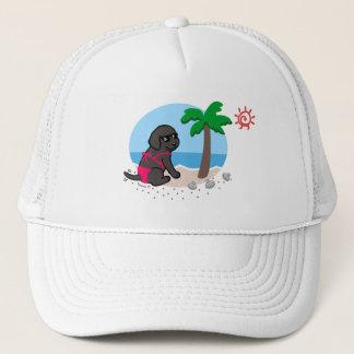 Black Labrador Girl Summer Vacation Hat