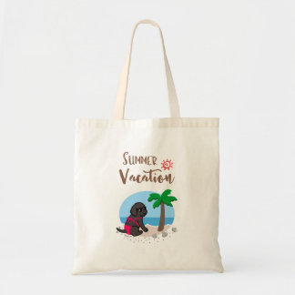 Black Labrador Girl Summer Vacation Tote Bag