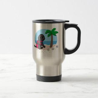 Black Labrador Girl Summer Vacation Travel Mug