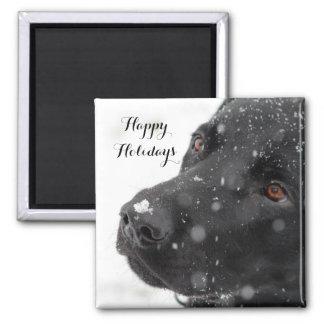 Black Labrador Happy Holidays Square Magnet