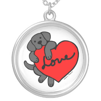 Black Labrador & Heart Cartoon necklace