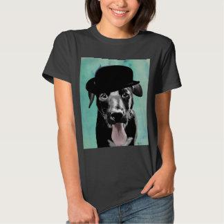 Black Labrador in Bowler Hat Tshirt