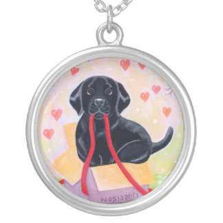Black Labrador in the box Painting Custom Jewelry