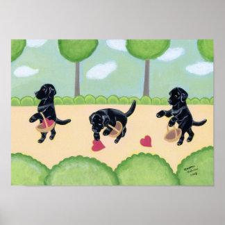 Black Labrador in the Forest Artwork Poster