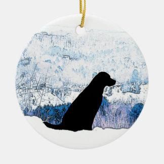 Black Labrador - Mountain Views Ceramic Ornament