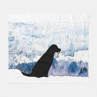 Black Labrador - Mountain Views Fleece Blanket