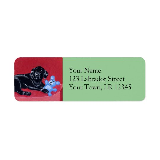 Black Labrador on the green couch Return Address Label