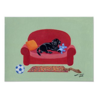 Black Labrador on the Pink Couch Artwork Poster