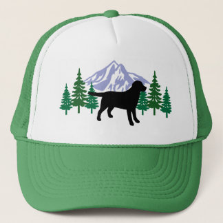 Black Labrador Outline Evergreen Trees Hat