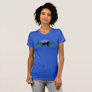 Black Labrador Outline Evergreen Trees Tshirt