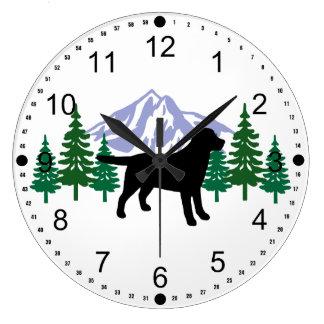 Black Labrador Outline Evergreen Wall Clock
