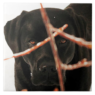 Black Labrador - Peeking Branches Ceramic Tile