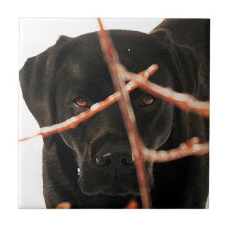 Black Labrador - Peeking Branches Tile