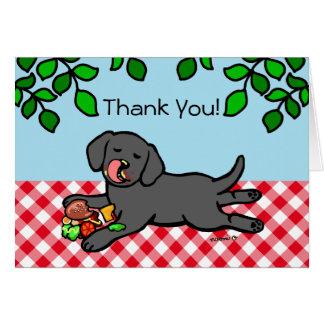 Black Labrador Puppy and Hamburger Card
