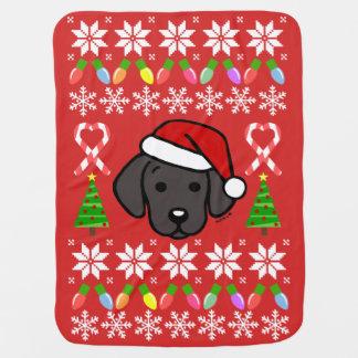 Black Labrador Puppy Christmas Pattern Baby Blanket