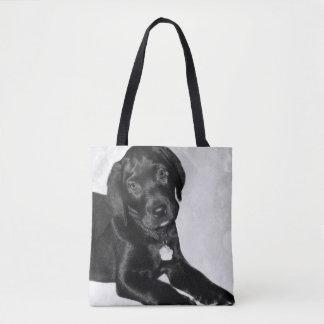 Black Labrador puppy dog bag