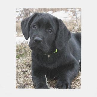 Black Labrador Puppy Fleece Blanket