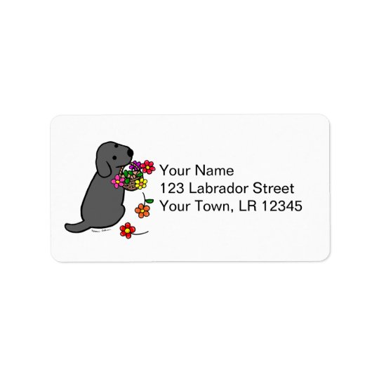 Black Labrador Puppy Flower Basket Cartoon Label