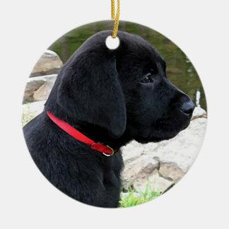 Black Labrador Puppy - Little Red Collar Ceramic Ornament