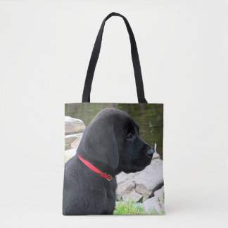 Black Labrador Puppy - Little Red Collar Tote Bag