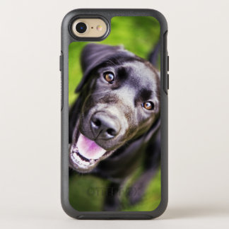 Black labrador puppy looking upwards, close-up OtterBox symmetry iPhone 8/7 case
