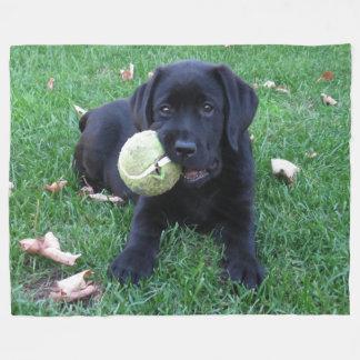 Black Labrador Puppy - Play Ball Fleece Blanket