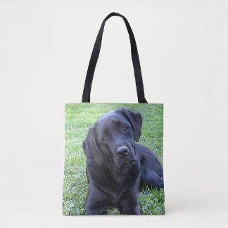 Black Labrador Puppy - Spring Day Tote Bag