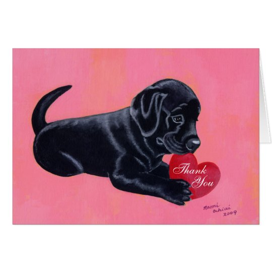 Black Labrador Puppy Thank You Card