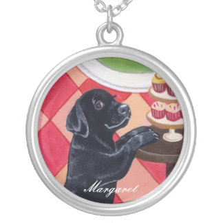 Black Labrador Puppy with Cupcakes painting Pendants