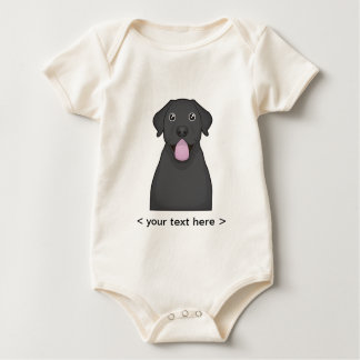 Black Labrador Retriever Cartoon Personalized Baby Bodysuit