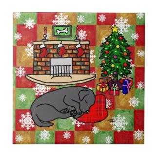 Black Labrador Retriever Christmas Mosaic Ceramic Tile