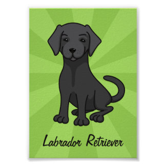 Black labrador retriever cute puppy dog cartoon poster