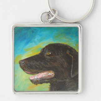 Black Labrador Retriever Dog Charm Keychains