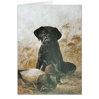 BLACK LABRADOR RETRIEVER DOG & DECOY DUCK ~ CARD